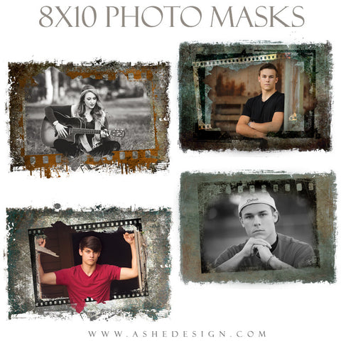 Ashe Design | Photoshop Templates | 8x10 Photo Masks | Film Strip Grunge