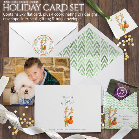 Watercolor Holiday Card Set | Oh What Fun