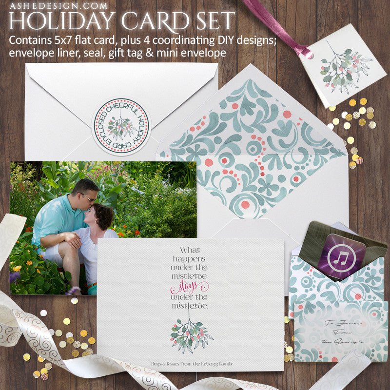 Watercolor Holiday Card Set | Under The Mistletoe