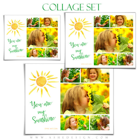 Ashe Design | Photoshop Templates | Collage Set | You Are My Sunshine