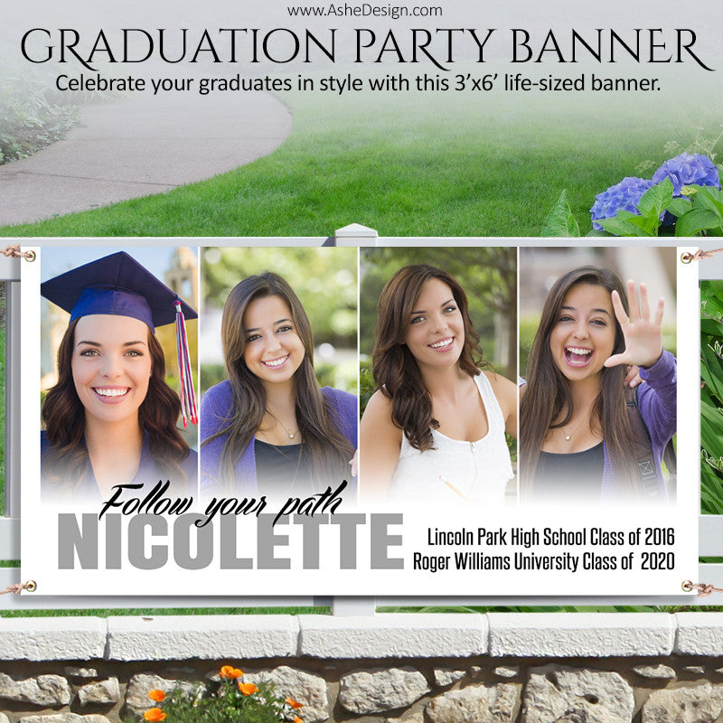 Ashe Design | Photoshop Template | Grad Party Photo Banner | 3'x6' Horizontal | Follow Your Path