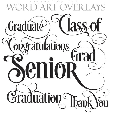 Ashe Design | Word Art Overlays | Ornate Senior
