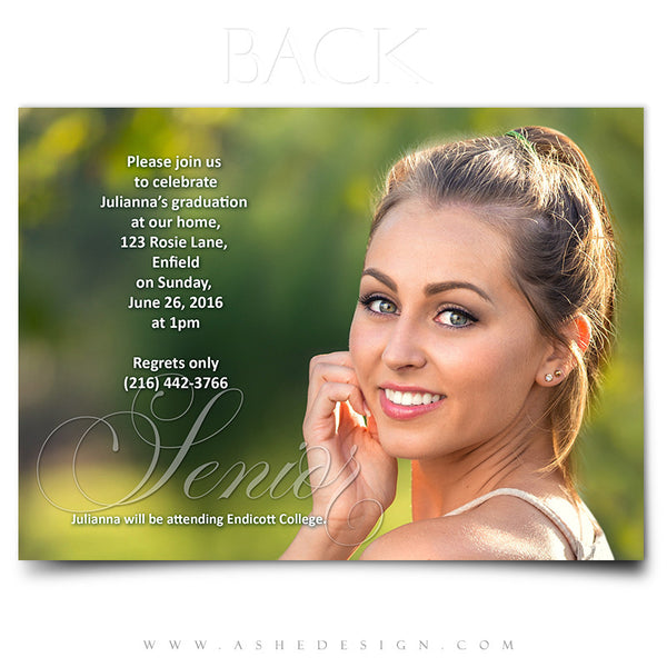 Ashe Design | Graduation Invitation | Senior Word Art Overlays | Thin Script 5x7 Back