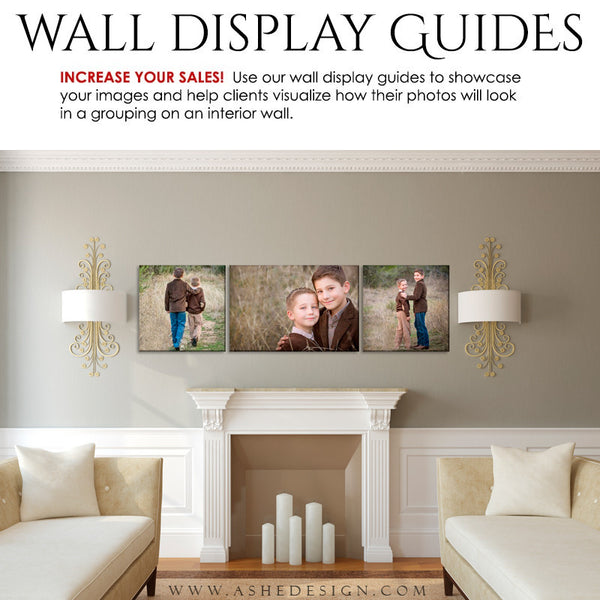 Ashe Design | Photography Wall Display Guides | 3 Images | Photoshop Templates