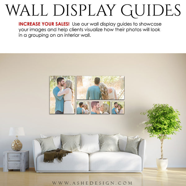 Ashe Design | Photography Wall Display Guide | 5 Images | Photoshop Template