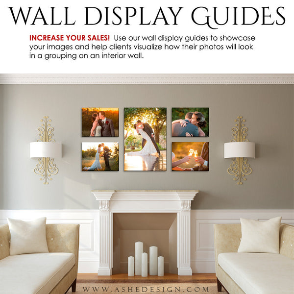 Ashe Design | Photography Wall Display Guides | 5 Images | Photoshop Templates