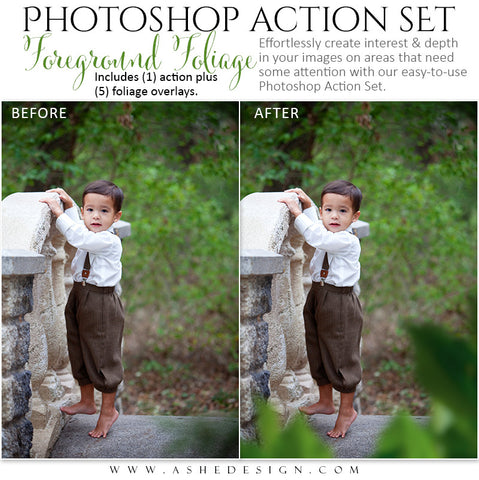 Ashe Design | Photoshop Action Overlays | Foreground Foliage1
