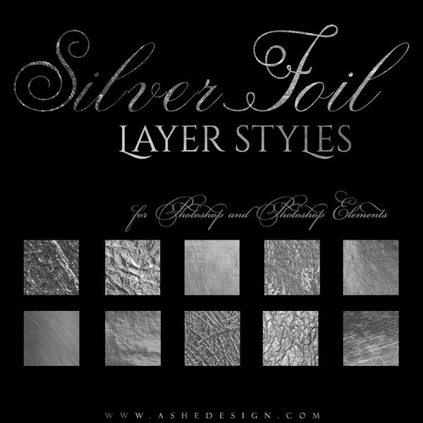 Ashe Design | Photoshop Layer Styles | Silver Foil