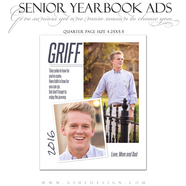 Ashe Design | Senior Yearbook Ad | Photoshop Templates | The Journey