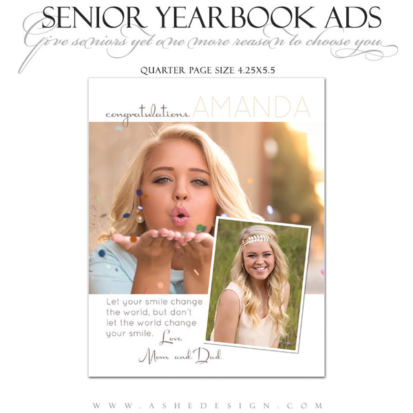 Ashe Design | Senior Yearbook Ad | Photoshop Templates | Your Smile