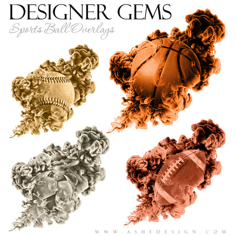 Ashe Design | Photoshop Templates | Designer Gems | Smoldering Sports Balls | Overlays