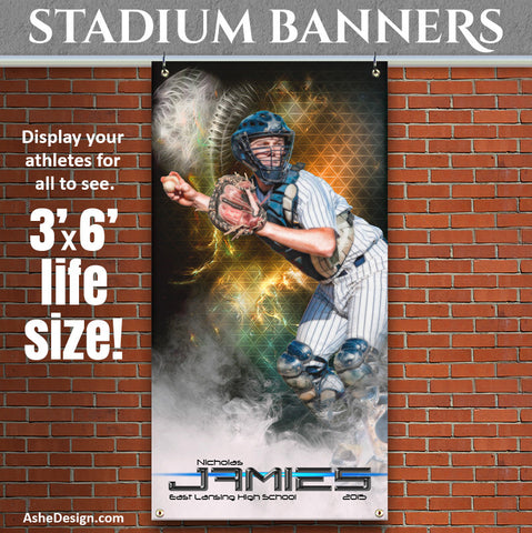 Amped Stadium Banner 3'x6' | Winning Streak Baseball/Softball