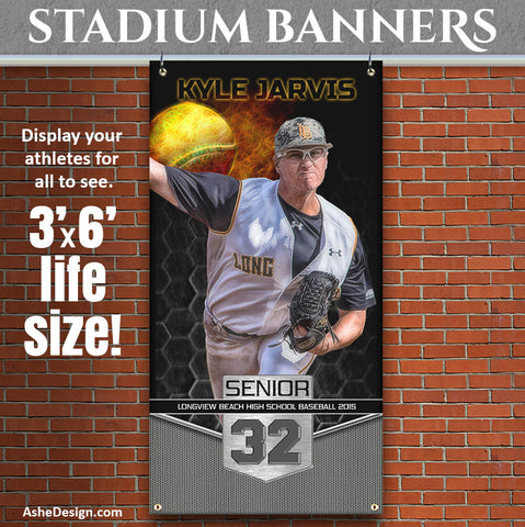 Amped Stadium Banner 3'x6' | Great Balls Of Fire Baseball/Softball