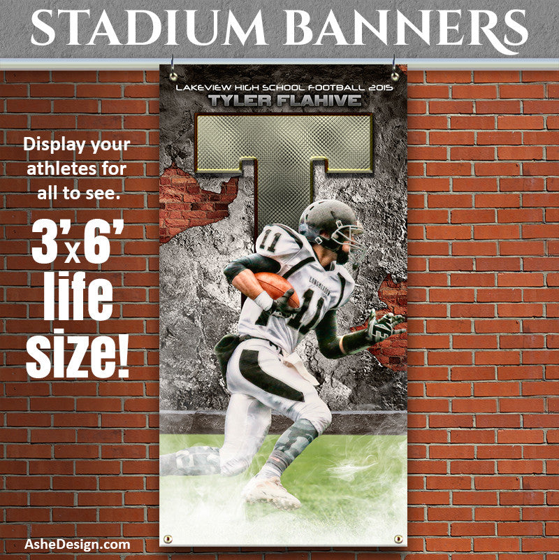 Ashe Design | 3'x6' Amped Stadium Banner | Brick & Mortar
