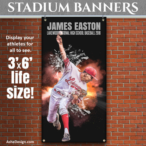 Ashe Design | 3'x6' Amped Stadium Banner | Explode On The Scene