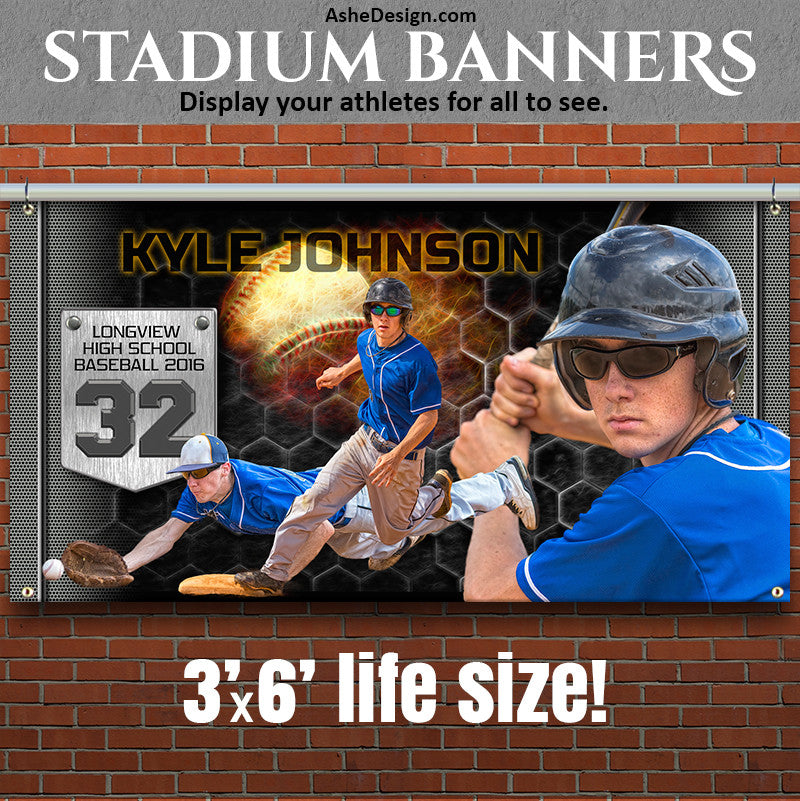 Ashe Design | Photoshop Template | Amped Stadium Banner | 3'x6' Horizontal | Great Balls Of Fire Baseball