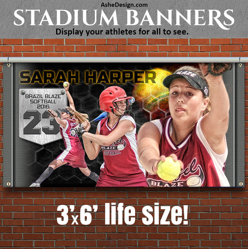 Ashe Design | Photoshop Template | Amped Stadium Banner | 3'x6' Horizontal | Great Balls Of Fire Softball
