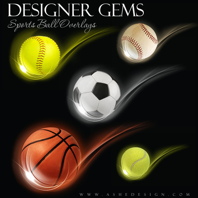 Ashe Design | Photoshop Templates | Designer Gems | Swoosh Sports Balls | Overlays