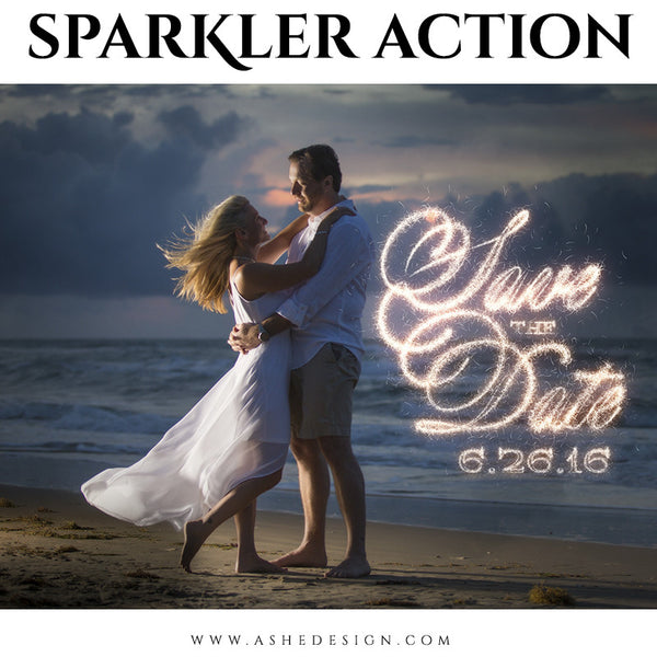 Photoshop Action | Text Sparkler engagement
