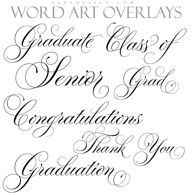 Ashe Design | Word Art Overlays | Thin Script Senior