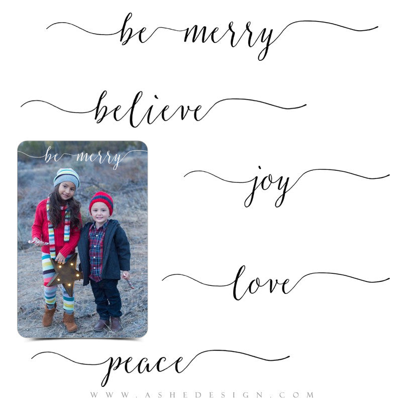 Photoshop Christmas Word Art Set | Be Merry