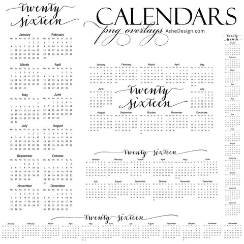 Ashe Design | 2016 Calendar Stamp Overlays