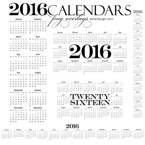 2016 Calendar Overlays for Photoshop | Designer Gems set