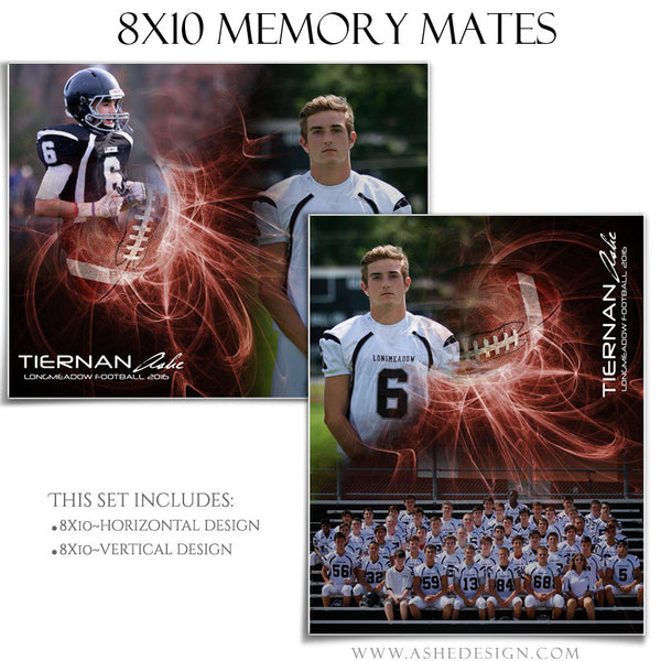 Ashe Design | Sports Memory Mates | Photoshop Templates | 8x10 | Mystic Explosion | Football