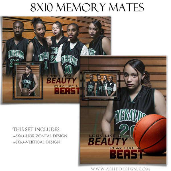 Ashe Design | Sports Memory Mates | 8x10 | Beauty And The Beast Basketball