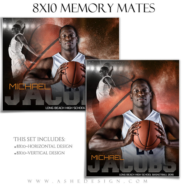 Ashe Design | 8x10 Memory Mate | Photoshop Templates | Powder Explosion Basketball