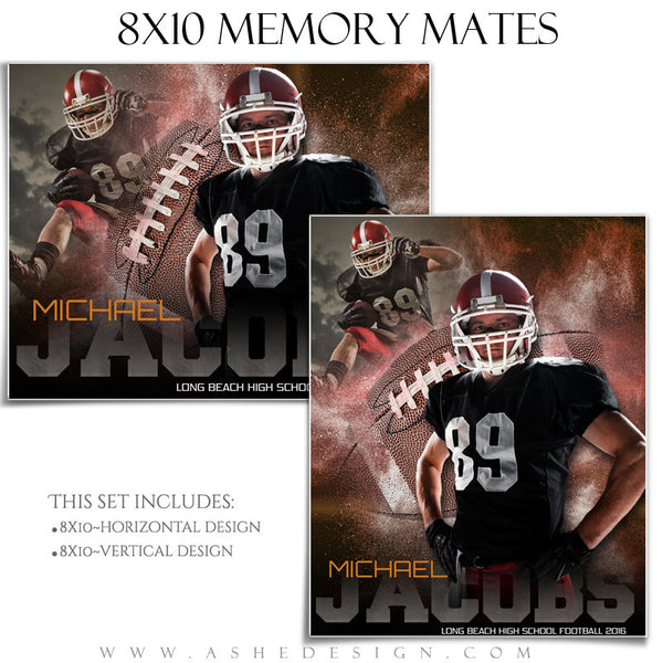Ashe Design | 8x10 Memory Mate | Photoshop Templates | Powder Explosion Football