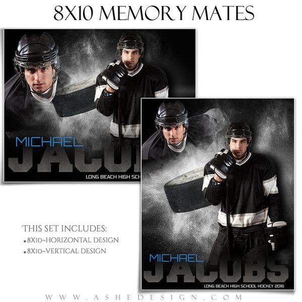 Ashe Design | 8x10 Memory Mate | Photoshop Templates | Powder Explosion Hockey