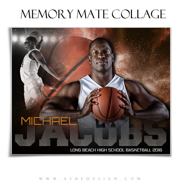 Ashe Design | 8x10 Memory Mate | Photoshop Templates | Powder Explosion Basketball hz