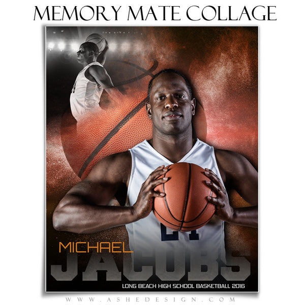 Ashe Design | 8x10 Memory Mate | Photoshop Templates | Powder Explosion Basketball vt