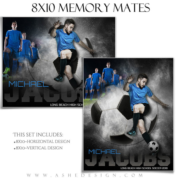 Ashe Design | 8x10 Memory Mate | Photoshop Templates | Powder Explosion Soccer
