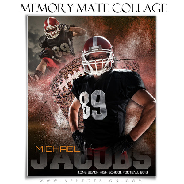 Ashe Design | 8x10 Memory Mate | Photoshop Templates | Powder Explosion Football vt