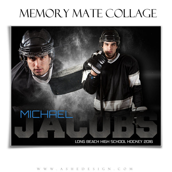 Ashe Design | 8x10 Memory Mate | Photoshop Templates | Powder Explosion Hockey hz