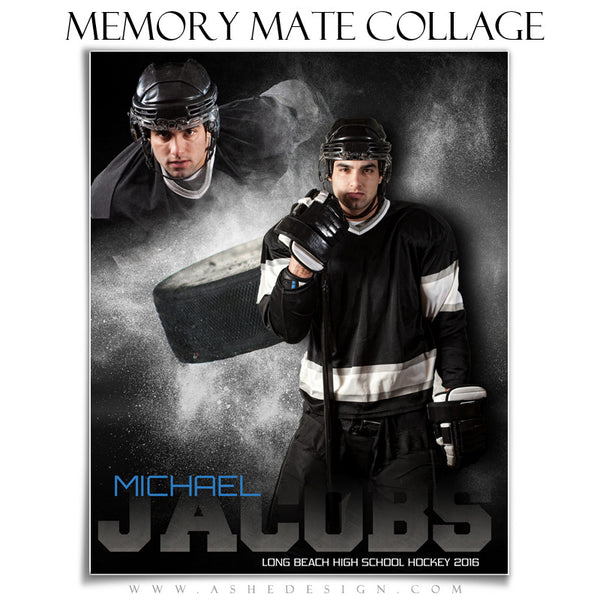 Ashe Design | 8x10 Memory Mate | Photoshop Templates | Powder Explosion Hockey vt