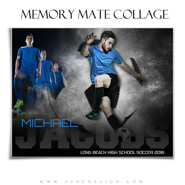 Ashe Design | 8x10 Memory Mate | Photoshop Templates | Powder Explosion Soccer hz