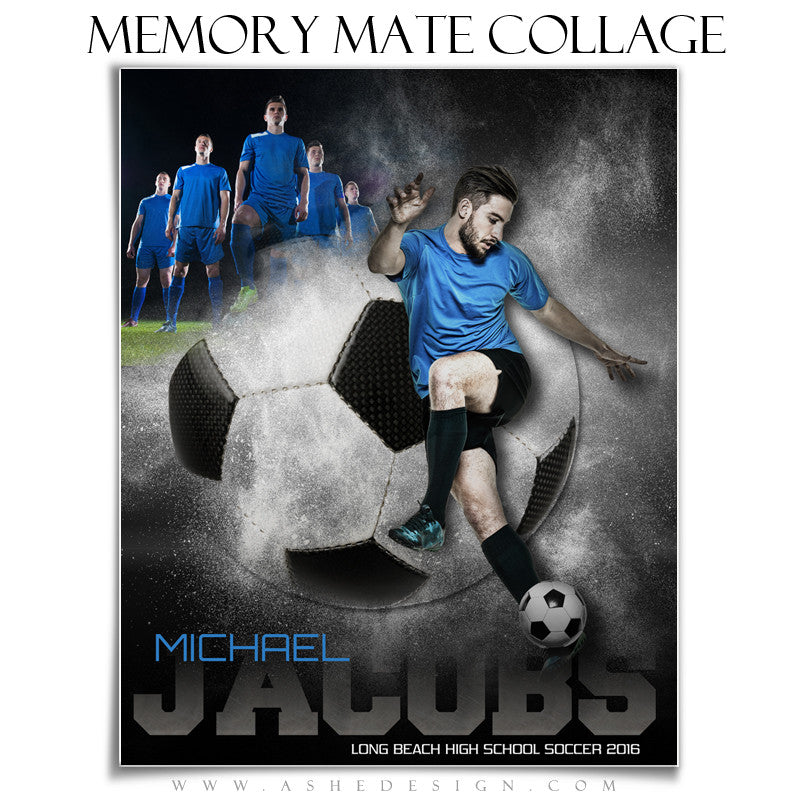 Ashe Design | 8x10 Memory Mate | Photoshop Templates | Powder Explosion Soccer vt
