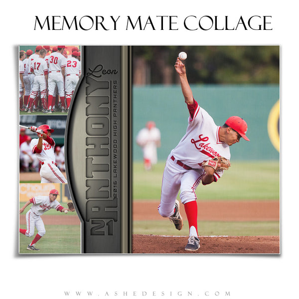Ashe Design | 8x10 Sports Memory Mate Horizontal | Silver And Gold