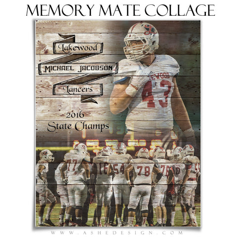 Ashe Design | 8x10 Sports Memory Mate Vertical | Branded