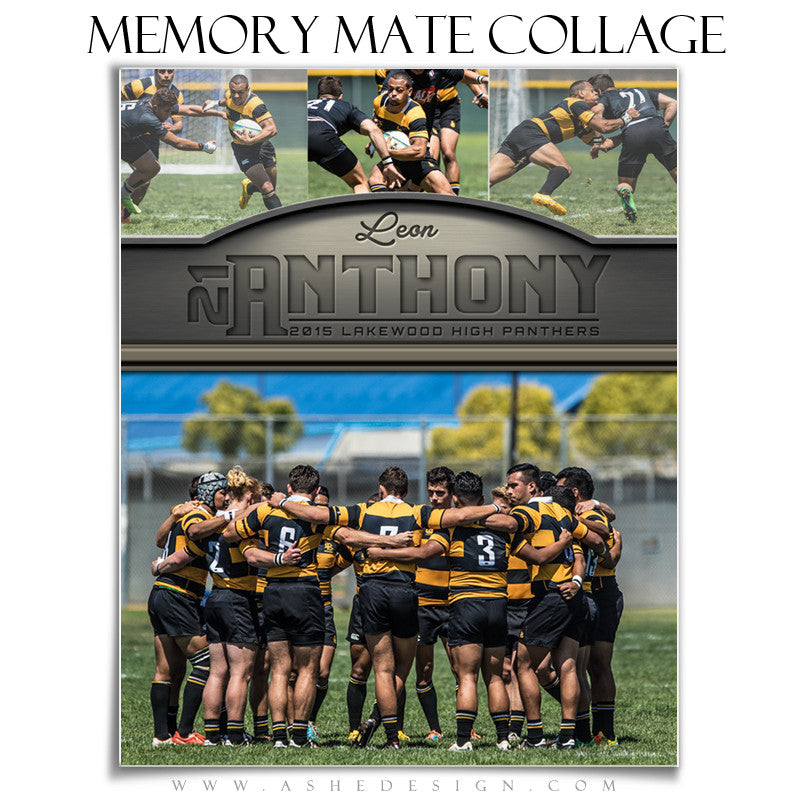 Ashe Design | 8x10 Sports Memory Mate Vertical | Silver And Gold