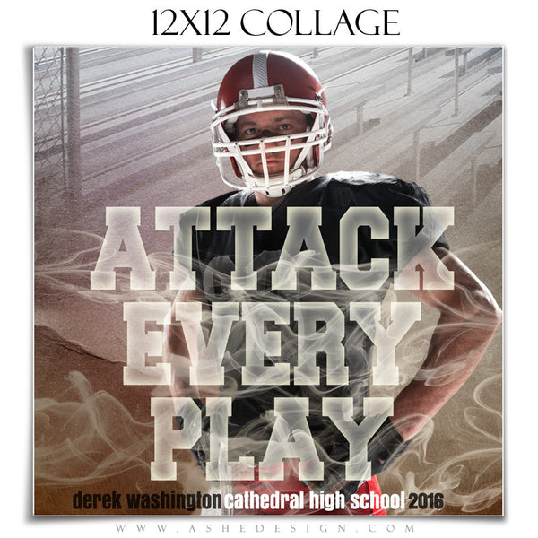 Ashe Design | Amped Sports Collage | 12x12 | Attack Every Play