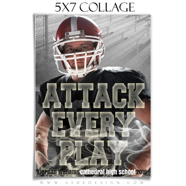 Ashe Design | Amped Sports Collage | 5x7 | Attack Every Play