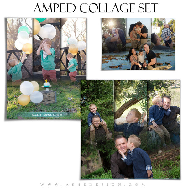 Amped Family Collage Photoshop Templates | Faded Triptych
