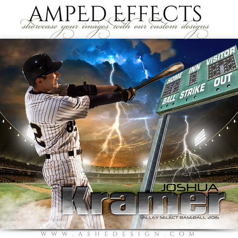Ashe Design | Amped Effects | Photoshop Templates | Sports Poster 16x20 | Lightning Strikes Baseball/Softball