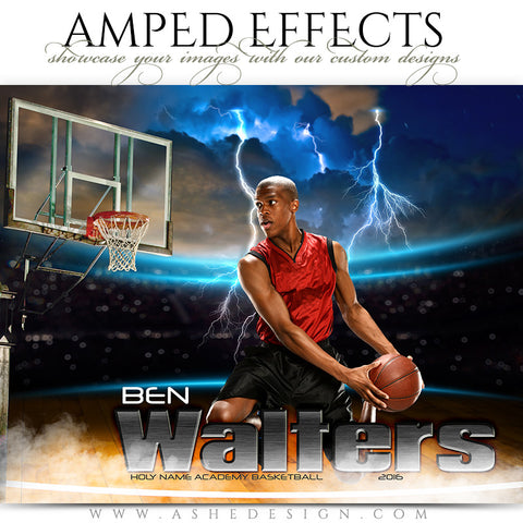 Ashe Design | Amped Effects | Photoshop Templates | Sports Poster 16x20 | Lightning Strikes Basketball