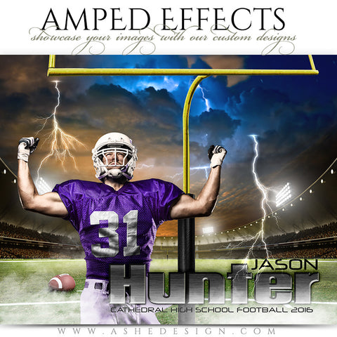 Ashe Design | Amped Effects | Photoshop Templates | Sports Poster 16x20 | Lightning Strikes Football