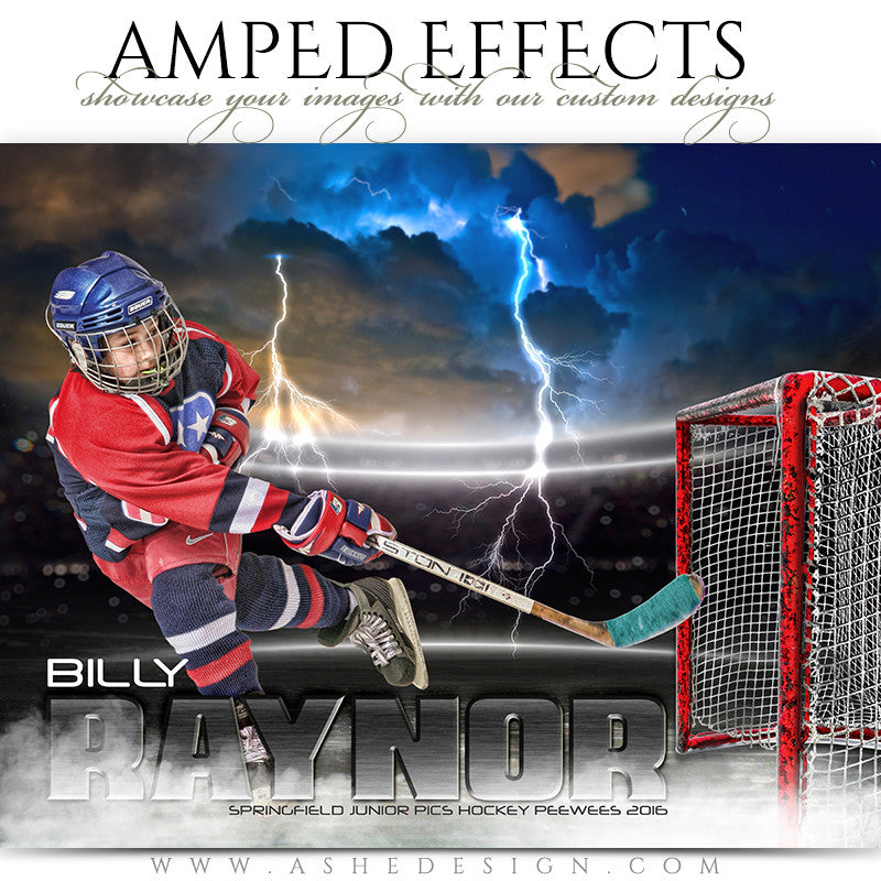 Ashe Design | Amped Effects | Photoshop Templates | Sports Poster 16x20 | Lightning Strikes Hockey